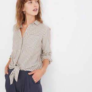 Madewell striped front tie button down
